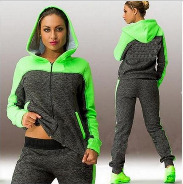 Fashion Warm Sets Stitching Panelled Color Female Hooded Sweatshirts Sports Suit Sweatershirt With Pants 2 Pcs Women Sets