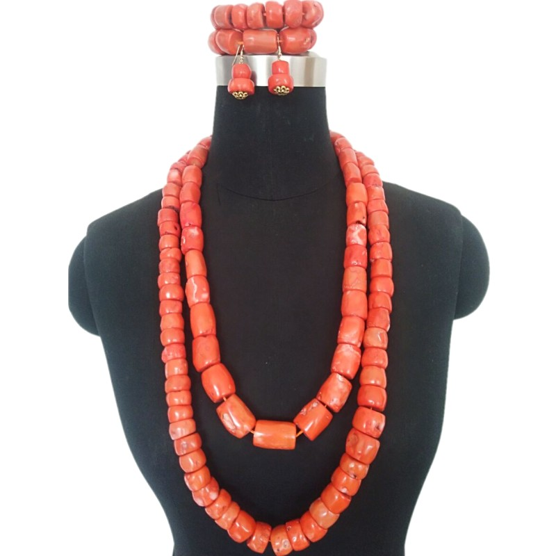 H4f99c806439040b8a2aedc29d52509f2t 4UJewelry African Jewelry Nature Coral Beads Nigerian Edo Traditional Weddings Bridal Jewelry Set 2 Rows 12-20 mm Necklace Set