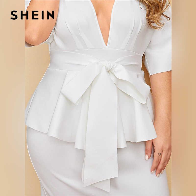 Shein Vestido De Talla Grande De Mujer Vestido Ajustado Blanco Con Escote Y Manga Dolman Vestido Elegante Solido De Corte Alto De Cintura Cenida Vestidos Aliexpress