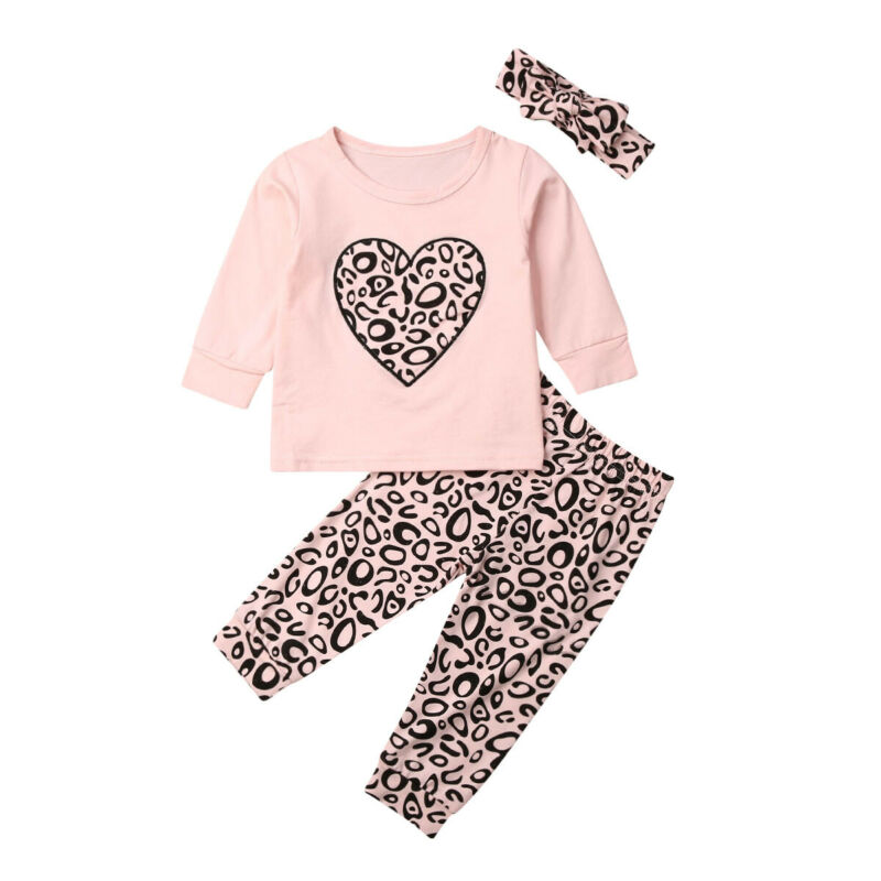 NEW 3PCS Baby Girls Outfits T-shirt+Pants Set Toddler Leopard Clothes Tracksuit