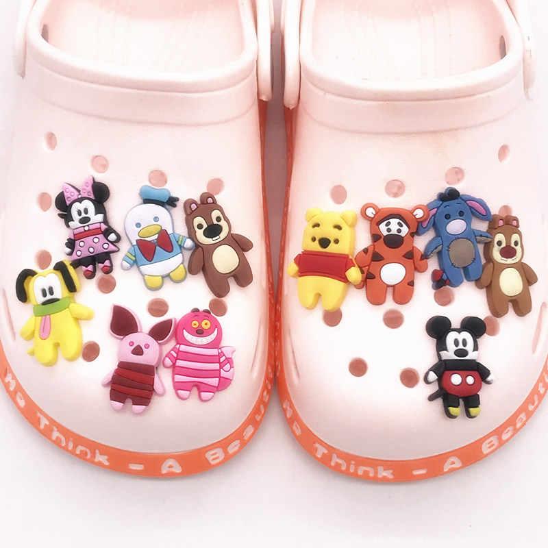 1Pcs การ์ตูนสัตว์น่ารักสุนัขหมี PVC รองเท้า Charms หัวเข็มขัด Fit Bands สร้อยข้อมือ Croc Jibz รองเท้า Ormaments เด็กคริสต์มาสของขวัญ