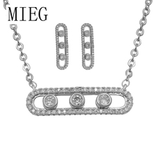 MIEG Brand High Quality Rhodium Silver Color Plated Cubic Zirconia CZ Crystal Necklace and Earring Set for Women or Party