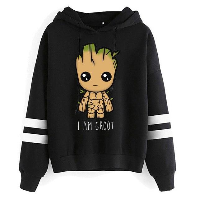 Spring Autumn Hoodies Harajuku Y2k Funny Cartoon Groot Printed Oversized Hoodies Women Streetwear Fashion Casual Sweatshirt