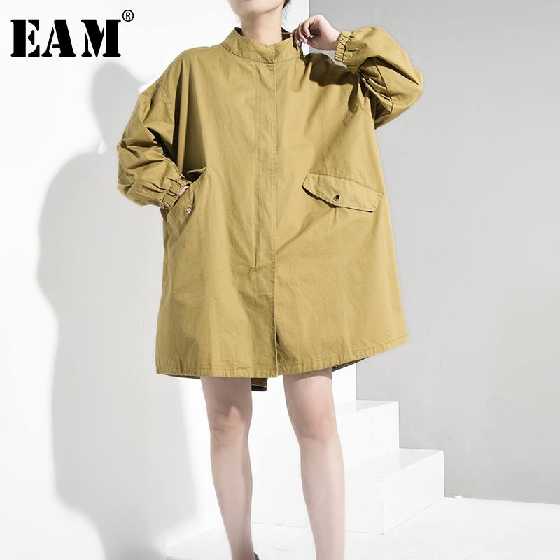 [EAM] Loose Fit Khaki Big Size Long Jacket New Stand Collar Long Sleeve Women Coat Fashion Tide Spring Autumn 2020 FM0530
