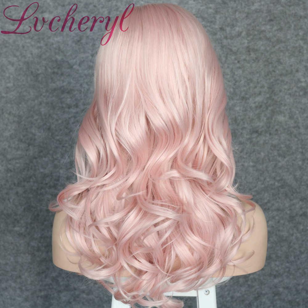 Lvcheryl niebieski kolor syntetyczna koronka przodu peruki krótkie luźne kręcone włosy peruki żaroodporne ręcznie wiązane włosy peruki dla kobiet
