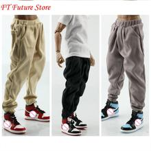 цена на In Stock 1/6 Soldier Figure Pants Hip-hop Loose Casual Turnip Pants Black Warm Gray Light Khaki Clothes for 12 Male Body