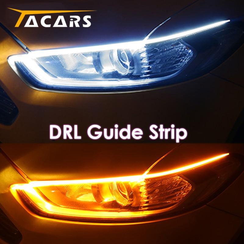 2x Ultrafine DRL 30 45 60cm Daytime Running Light Flexible Soft Tube Guide Car LED Strip White Red Turn signal Yellow Waterproof 1