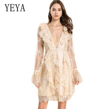 YEYA Apricot Deep V Neck Lace Dress Ruffled Long Sleeve Womens Clothing Sexy See Through Hollow Out Fenale Short Vestidos