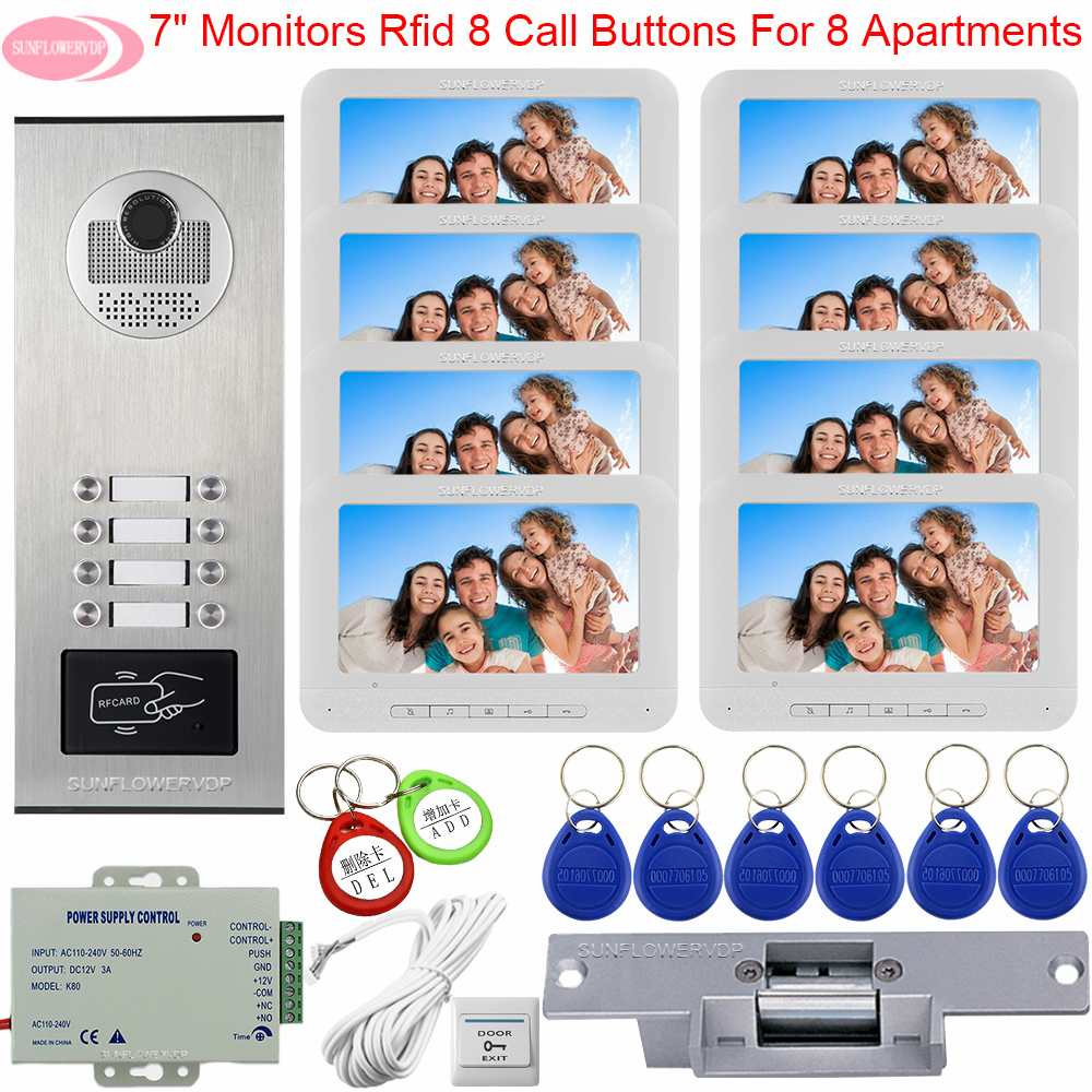 For 8 Monitors Video Door Phone Intercom Camera Access Control Intercoms Security Door Entry With Electric Strike Lock Intercoms
