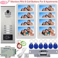 For 8 Monitors Video Door Phone Intercom Camera Access Control Intercoms Security Door Entry With Electric Strike Lock Intercoms