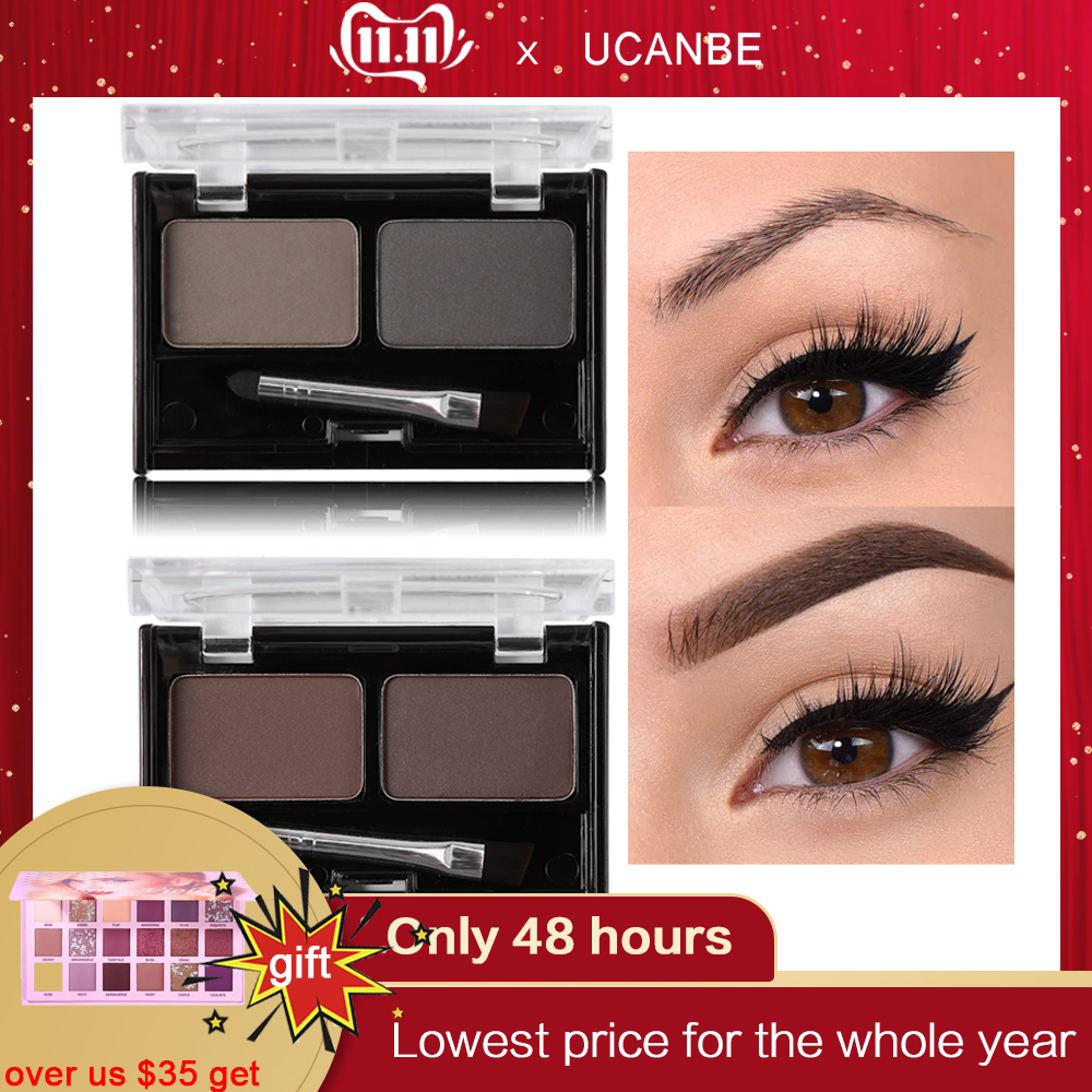 Brand Double Color Eyebrow Powder Makeup Palette Natural Brown Eye Brow Enhancers 3D Eye Brows Shadow Cake Beauty Kit with Brush-in Eyebrow Enhancers from Beauty & Health