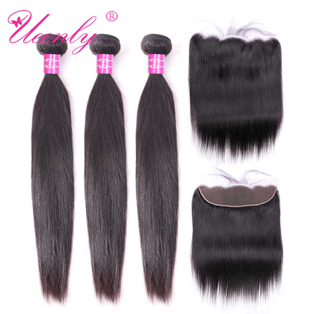 UEENLY Brazilian Straight Hair Bundles With Frontal Human Hair Bundles With Closure Remy Hair 3 Bundles With 13x4 Closure
