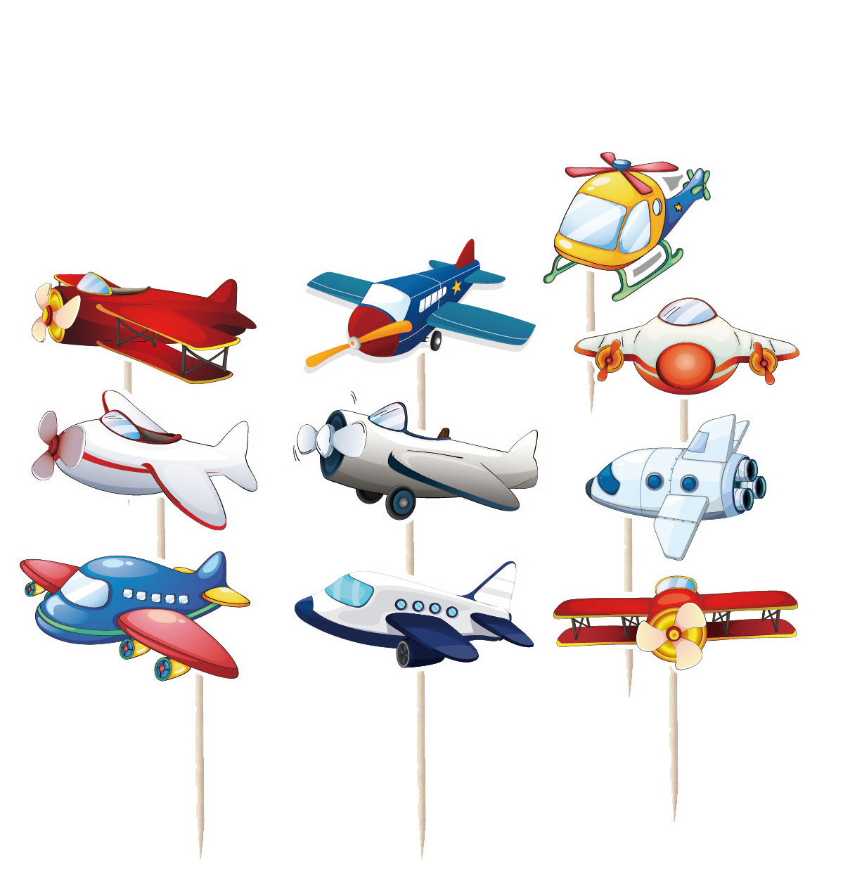 10pcs Cartoon Airplane Cupcake Toppers Decorations for Kids Aircraft Themed Birthday Party Cake Decoration Supplies image