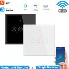 Настенный умный сенсорный выключатель 1/2/3 gang tuya wifi 110