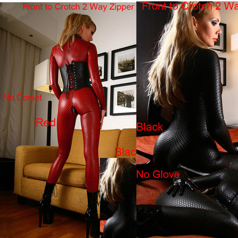 Women Black Red Hot Faux Leather Latex Catsuit Clubwear Sexy Jumpsuit With Zipper To Crotch Sex Fetish Bondage Harness Costumes