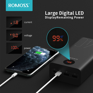 Image 3 - ROMOSS Zeus 40000mAh Power Bank 18W Повербанк PD QC 3,0 Двусторонняя Быстрая зарядка Powerbank Type C Внешнее зарядное устройство для iPhone Xiaomi Смартфоны