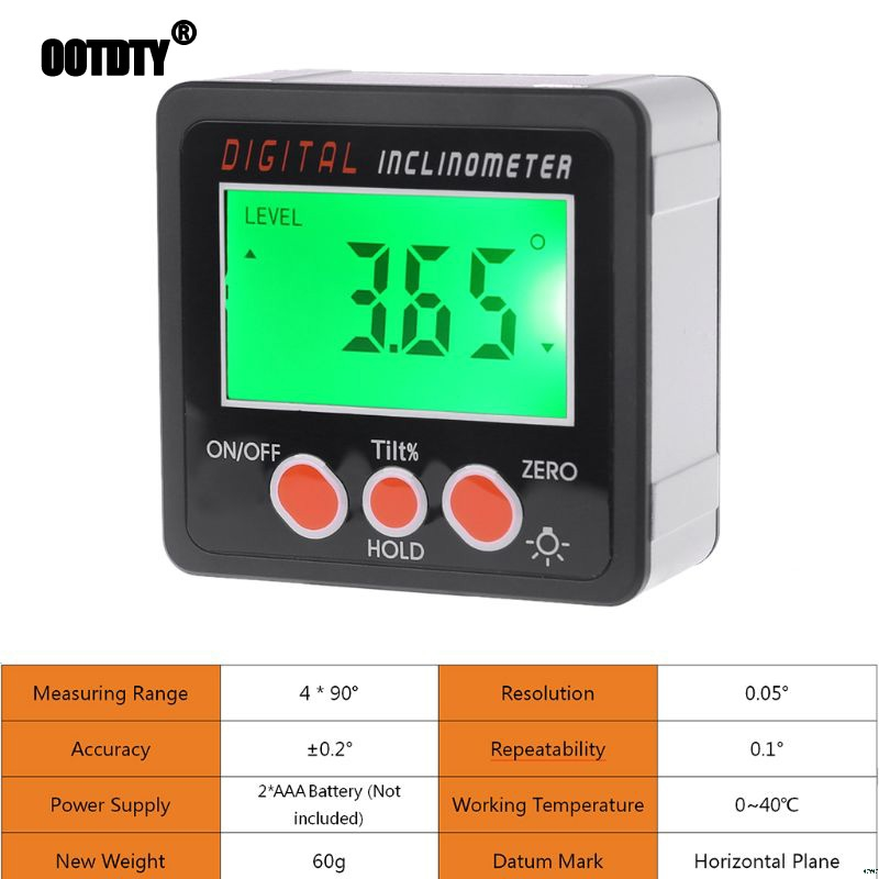 Digital Inclinometer Electronic Protractor Aluminum Alloy Shell Bevel Box Angle Gauge Meter Measuring Tool LCD Screen
