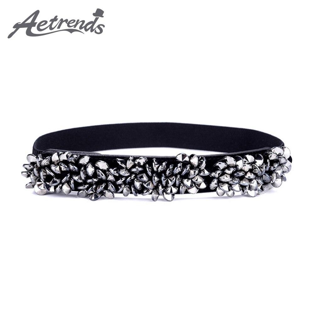 [AETRENDS] Women's Skinny Belt For Dresses Vintage Rhinestone Stretch Waist Belt Retro Cinch Belt D-0138