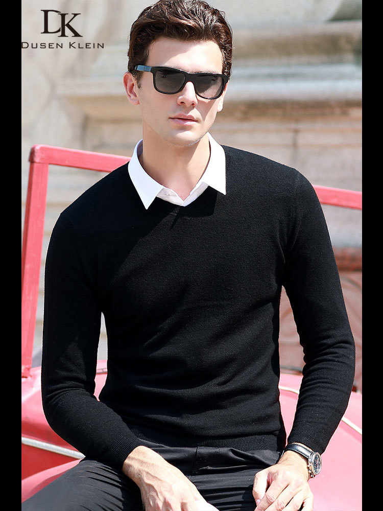 Dusen Klein Men Casual V-Neck Pullover Slim Fit Long Sleeve Shirt Men's Sweaters Knitwear Cashmere Wool Pull Homme 68181