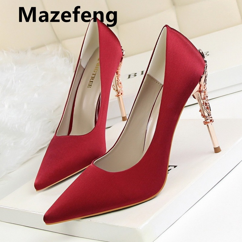Mazefeng 2019 Women Pumps Brand High Heels 10 Cm Patent Leather Pointed Toe Sexy Stiletto Shoes Woman Ladies Mature Office Pumps