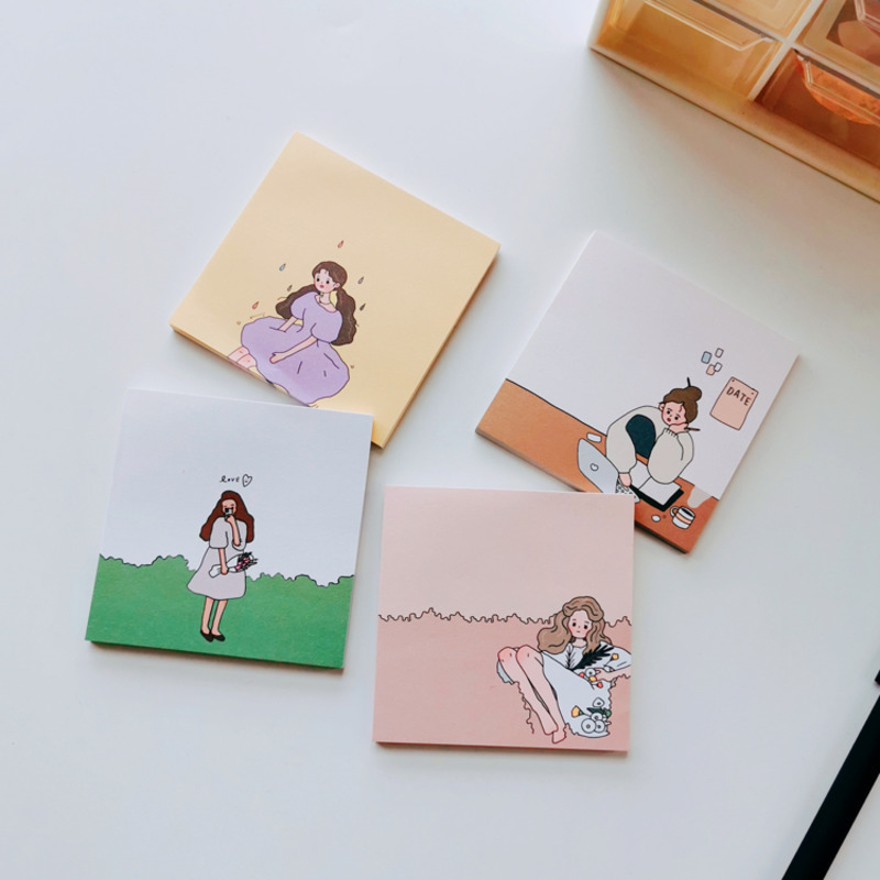 50 Sheets Ins Girl Style Cartoon Sticky Note Non-sticky Tearable Note Paper Memo Message Notepad Envelope Gift School Stationery