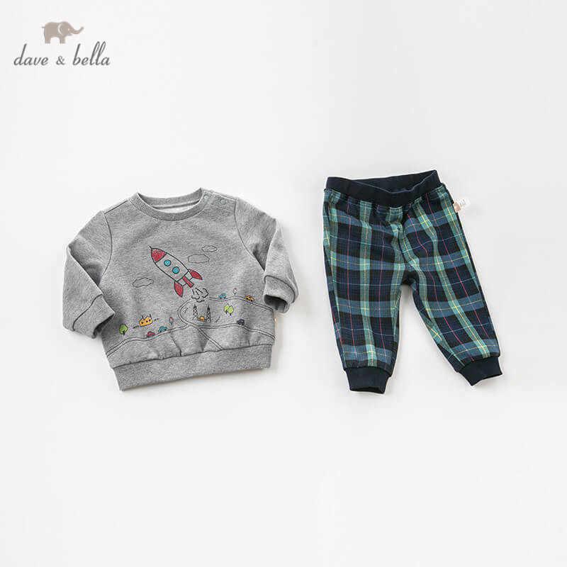Dave Bella Musim Gugur Bayi Anak Laki-laki Lengan Panjang Set Pakaian Bayi Balita Top + Celana 2 Buah Pakaian Anak-anak Berkualitas Tinggi cocok