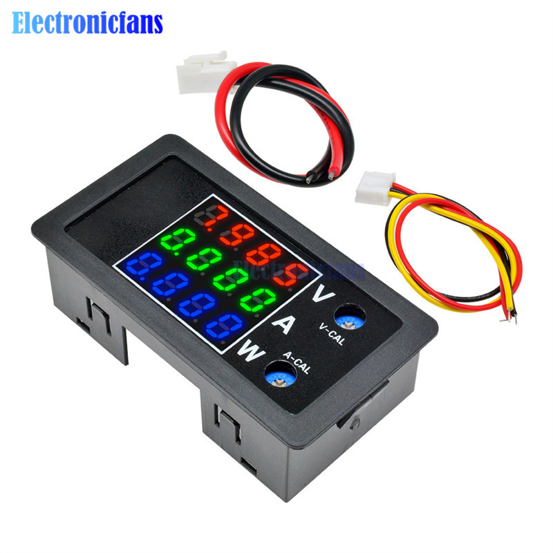 "DC 0-100V 10A 1000W Digital Watt Meter DC Power Meter Energy Monitor Voltage Current Tester Analyzer 8V 12V 24V 0.28"" LCD Meter"