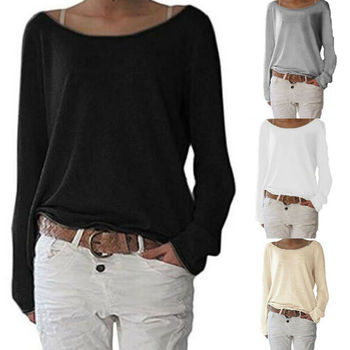 Women Basic Long Sleeve Solid Top Womens Oversized Loose Plain Cotton T-Shirt Baggy Crew Neck