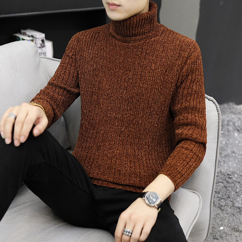 2019 Men Turtleneck Sweaters Autumn Wool Pullover Tops Winter High Neck Thick Warm Knitwears Classic Solid Knitted Pullover Tops