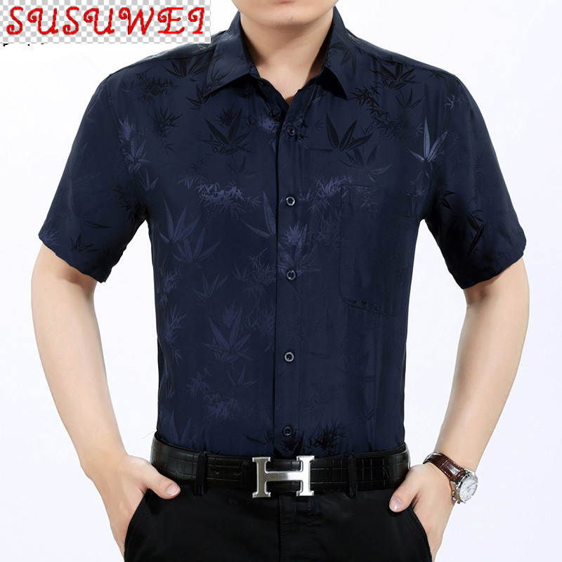 SUSUWEI Summer 100% Silk Shirt Men Short Sleeve White Shirt Loose Mens Dress Shirts High Quality Formal Camisa Masculina KJ1946