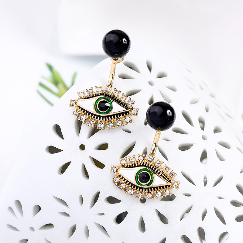 Punk Unique White&Black Enamel Acrylic Crystal Evil Eyes Stud Earrings For Women Gifts Gold Color New Fashion Jewelry