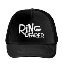 Hipster Ring Bearer Letters Baseball Cap Trucker Hat For Women Men Unisex Mesh Adjustable Size Black White Drop Ship M-45(China)