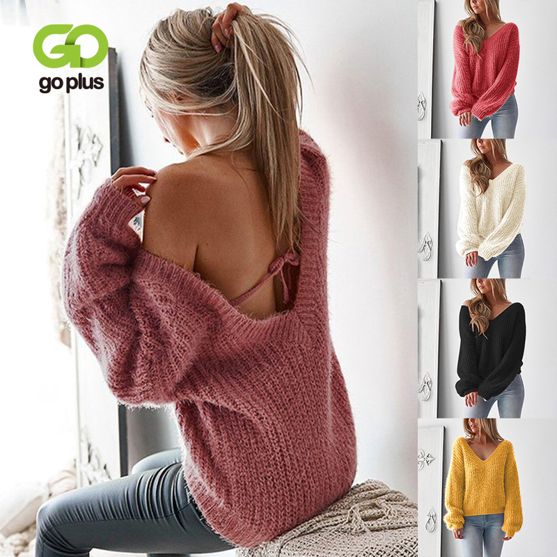 GOPLUS Women's Sweater Autumn Winter Sexy V-neck Open Back Sweaters For Women Pullover Clothing Pull Femme Jersey Mujer Invierno