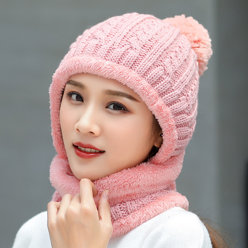 Thicken Winter Hat And Scarf Men Women Wool Skullies Beains Casual Warm Hat Female Hats Ring Scarves Men Knitted Hat