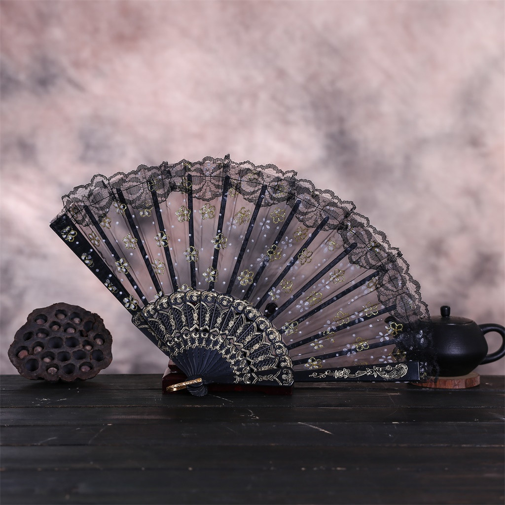 Best Chinese Style Fans Dance Wedding Party Lace Silk Folding Hand Held Flower Fan Pattern Lace Silk Party Pocket Gift #40