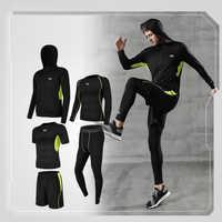 2019 männer Sport Anzug Sets Langarm Läuft Schnell Trocken Basketball Gym Jogging Anzug Sport Yoga Fitness Kompression Kleidung Set