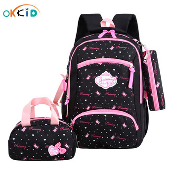 OKKID girls school bags children's backpack kids cute dots book bag set primary student schoolbag girl gift - discount item  50% OFF School Bags