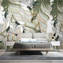 Milofi custom wall paper Nordic hand-painted tropical plants leaf lines light luxury TV background wall painting