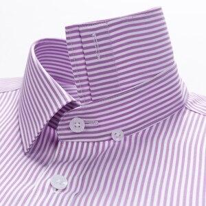 Image 3 - Мужская немнущаяся рубашка, формальная деловая рубашка из 100% хлопка с длинными рукавами и принтом в полоску, Стандартный крой
