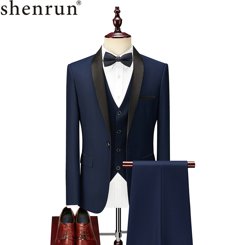 Shenrun Men Suit Tuxedo Groom Wedding Tuxedos Prom Ball  Banquet Formal Suits Marriage Evening Dinner Three Pieces Shawl Lapel