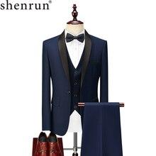 Shenrun erkek takım elbise smokin damat düğün smokin balo balo ziyafet resmi takım elbiseler evlilik akşam yemeği üç adet şal yaka