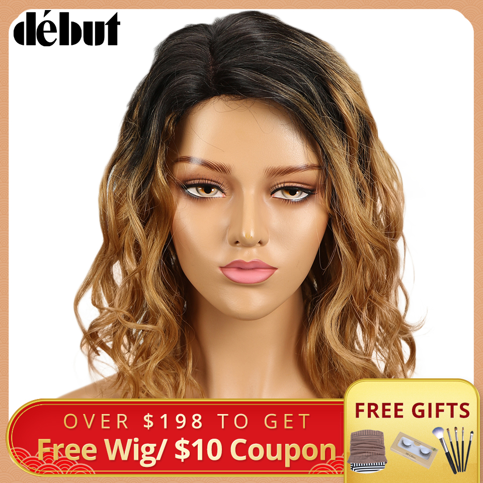 Debut Hair Wigs For Black Women Remy Curly Wavy Human Hair Wigs Brazilian Ombre Hair Part Lace Wig Free Shipping