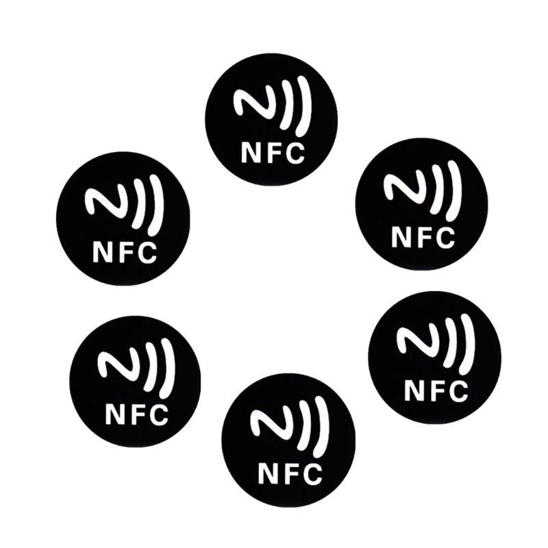 Черные металлические наклейки, 6 шт., NFC Ntag213 меток, NTAG 213 металлических этикеток, значки 28TE