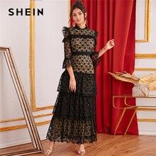 SHEIN 黒スタンドカラーフリルトリムティアードレイヤードレースエレガントなドレスの女性 2019 秋フラウンス袖パーティー女性マキシドレス