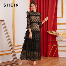 SHEIN Black Stand Collar Ruffle Trim Tiered Layered Lace Elegant Dress Women 2019 Autumn Flounce Sleeve Party Lady Maxi Dresses