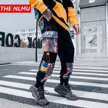 Мужские штаны-шаровары для бега, мужские спортивные штаны, хип-хоп цветные спортивные штаны в стиле пэчворк, мужские Модные уличные брюки черного цвета, WG738