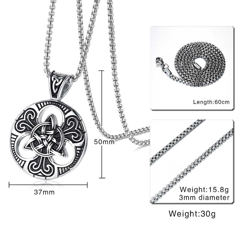 Męska Lrish Celtics Trinitys węzeł i satanistyczny naszyjnik dla mężczyzn ze stali nierdzewnej Unisex Vintage Gotycki biżuteria męska