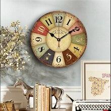 Reloj de pared redondo de madera con diseño clásico silencioso de 29,8 cm, números árabes, reloj de pared con decoración de baño para el hogar estilo Chic rústico