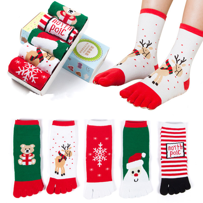 Children's Christmas Cartoon Socks Warm Comfortable And Breathable Five Finger Socks NEW For In Autumn And Winter7-12 Years Old