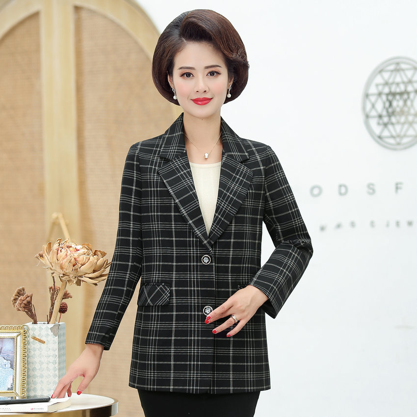 Middle Aged Women Plaid Blazer Autumn Spring Red Gray Checked Pattern Jacket Suit Mature Woman Elegant Outfits Notched Collar